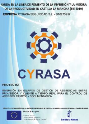 Cyrasa Seguridad ha sido beneficiaria de la ayuda en la línea de fomento de la inversión y mejora de la productividad en Castilla-La Mancha (FIE 2019)