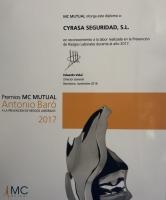 MC Mutual reconoce en los premios Antonio Baró la labor realizada por Cyrasa en prevención de riesgos laborales en 2017