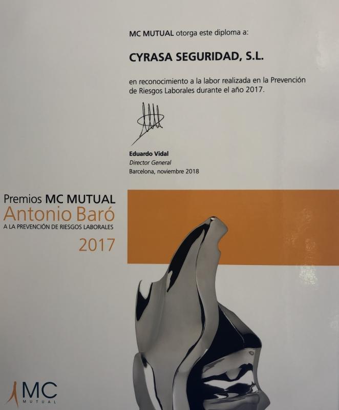 MC Mutual reconoce en los premios Antonio Bar� la labor realizada por Cyrasa en prevenci�n de riesgos laborales en 2017