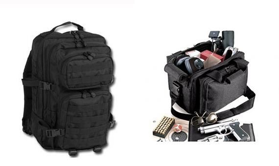 La comodidad de una bolsa t�ctica para transportar material de seguridad